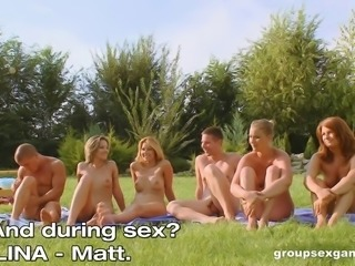 Nudist games in the park turn into a wild outdoor orgy