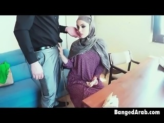 Arab In Head Scarf Sucking Dick From Desk In Office