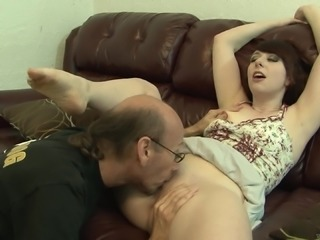Sizzling Teen With Petite Natural Tits Sucking An Old Man's Big Cock