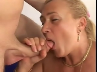 Fat mature woman sucks and fucks with young man