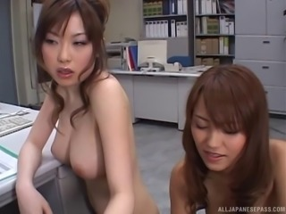 Boss has a foursome with his Japanese cock sucking office sluts