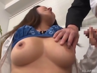 Sucking secretary takes a thick load on her tongue