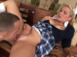 Hardcore CFNM sex scene with blonde college girl Alanah Rae