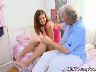 Old fart eagerly licks this coed's deliciously sweet punani