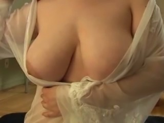 Lacy negligee can't hide glorious boobs of my sexy wife