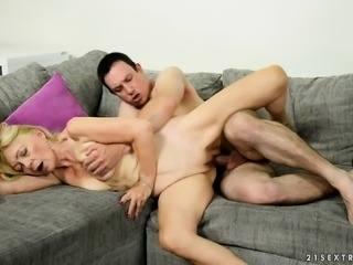 Kinky mature lady has a young stud's hard shaft making her pussy wet