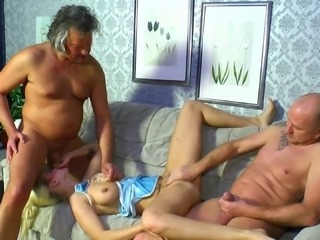 Old young threesome compilation with slutty German girls