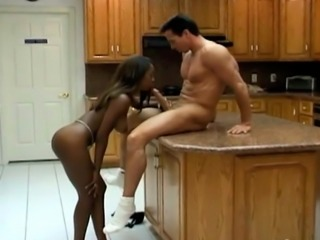 Bodacious ebony gal gives nice rim job and BJ to her white BF