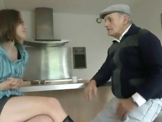 Nerdy woman wants old cock