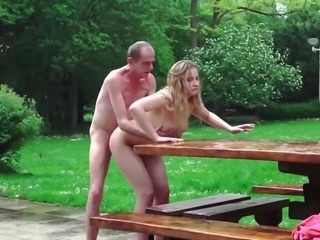 Old man taste the pee of a young blonde