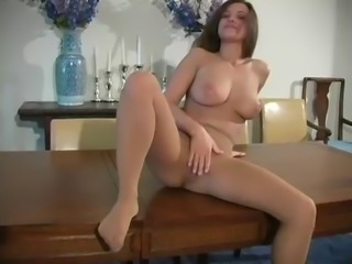 Andie Valentino In Sheer Pantyhose Showing Her Meaty Pussy