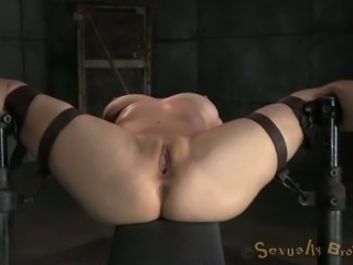 White master fucks tied up busty blonde mish while she sucks BBC (MMF)