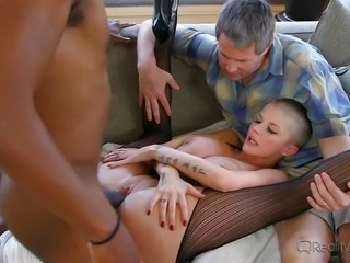 Cuckold husband enjoys watching his  wife giving eager blowjob to BBC