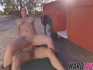 Busty cowgirl Brooklyn rides a huge cock