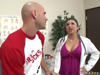 Latina Doctor Sativa Rose Handjobs and Titty Fucks To Check For Steroids