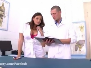 Horny Nurse with perfect tits fucks the doctor senseless