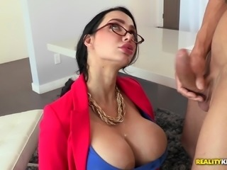 Pornstar MILF Amy Anderson shows her huge tits while fucking