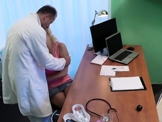 Blonde patient puts doctor cock into mouth