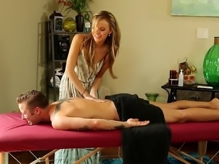 Adorable pornstar gives her new stud a hot massage with a happy ending