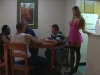White Wife fucks Black Cock and his friends on poker night