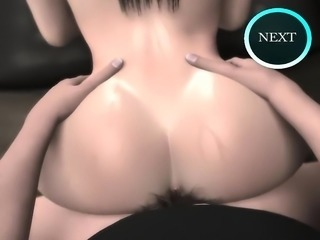Dark-haired nurse shows you her tits while taking a huge dick