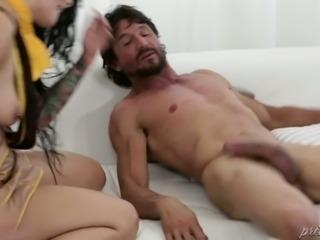 Tattooed black haired sweetie Katrina Jade got her pierced vagina slammed in...