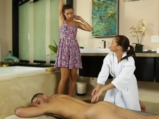 Karter is quite timid when giving a massage, but Sophia is there to show her...