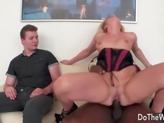 Hot blonde wife big black cock