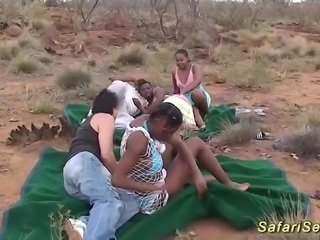 Extreme hot real african safari sex orgy with hot chocolade babes
