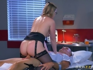 Blonde wearing glasses blows the chunky tool before riding on it viciously