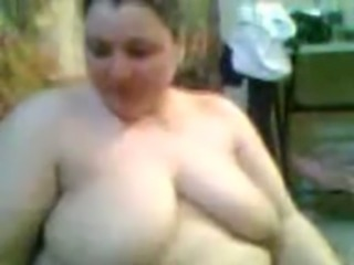 Wondrous super perverted webcam amateur BBW was flashing her huge boobies