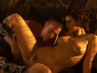 Curly haired Russian MILF with cute boobies Natasha enjoyed nasty oral sex...