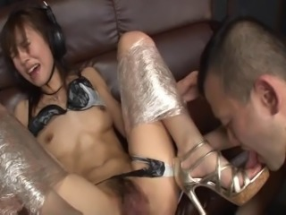 Skinny bimbo with big boobs receives a hardcore throbbing by a mammoth cock...