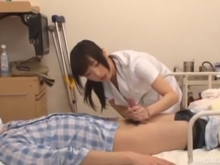 Nasty hospital staff attacks a patient with a stiff boner
