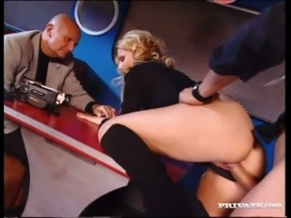 Sexy blonde Sandra Sunrise having dirty sex in the presence of her old...