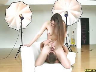 Brunette Dani Daniels with phat booty is in