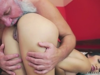 Slutty young chick Frida Sante is having dirty sex with old fart