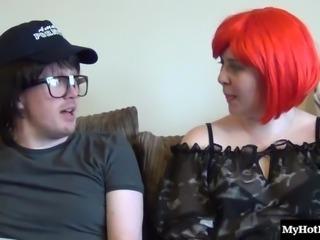 Curvy Sarah Jane with natural tits giving dick handjob