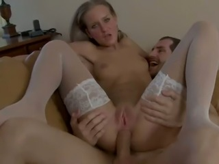 Horny stud butt fucks naughty blond haired housemaid Chloe in various poses hard