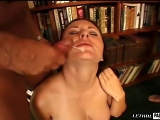 Brunette refined with rough face fucking in threesome porn