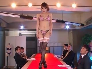 Aya Sakurai wearing quite revealing lingerie and getting gangbanged