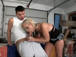 Blonde sweet sexy woman blows dick of a young man and fucks