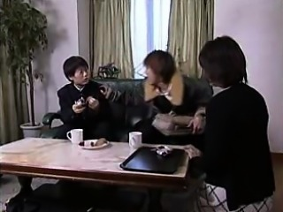 Lustful Japanese mom brings a young cock to orgasm with her