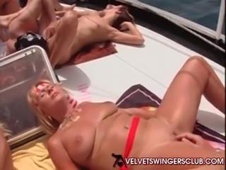 Velvet Swingers Club boat party with huge gangbang carnival