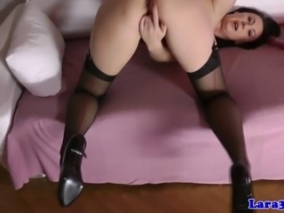 Euro glamour MILF solo toy playing for webcam