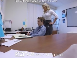 SpyFam Step son office anal fuck with step mom Cory Chase