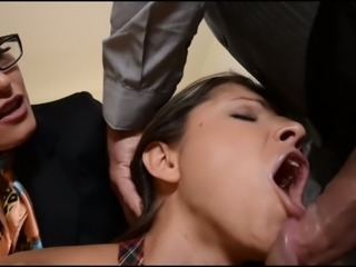 Saucy 4 eyed MILF and her bitchy girlie please kinky boss in the office