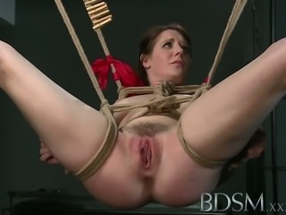 BDSM XXX Dom makes suspended subs pussy squirts like a fount