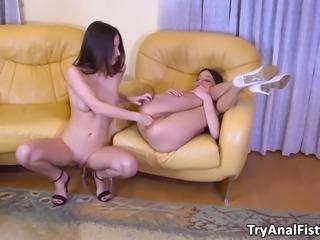 Slurping beauty brunettes lesbian ass-fisting