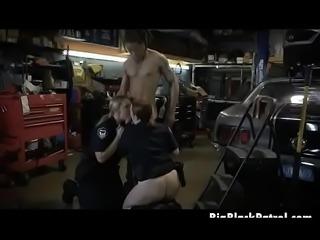 White Female Cops Interracial Bang Bang In A Chop Shop